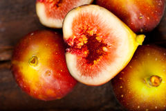 Fresh figs over old wood Royalty Free Stock Photo