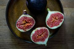 Fresh Figs on a plate. In morning light Royalty Free Stock Photography