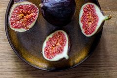 Fresh Figs on a plate. In the morning light Royalty Free Stock Images