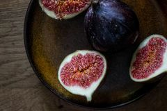 Fresh Figs on a plate. In the morning light Stock Photo