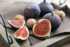 Fresh figs on vintage tray Stock Image