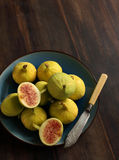 Fresh figs on the wooden table Royalty Free Stock Image