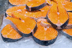 Fresh filet of salmon. For sale at a market Stock Image