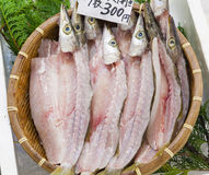 Fresh filleted fish in a Japanese market. In Osaka Stock Photo