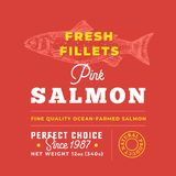 Fresh Fillets Premium Quality Label . Abstract Vector Fish Packaging Design Layout. Retro Typography with Borders and. Hand Drawn Salmon Silhouette Background Royalty Free Stock Photo