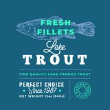 Fresh Fillets Premium Quality Label . Abstract Vector Fish Packaging Design Layout. Retro Typography with Borders and. Hand Drawn Lake Trout Silhouette Stock Image