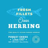 Fresh Fillets Premium Quality Label . Abstract Vector Fish Packaging Design Layout. Retro Typography with Borders and. Hand Drawn Herring Silhouette Background Royalty Free Stock Photo