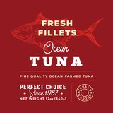 Fresh Fillets Premium Quality Label . Abstract Vector Fish Packaging Design Layout. Retro Typography with Borders and. Hand Drawn Tuna Silhouette Background Stock Images