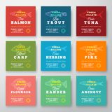 Fresh Fillets Premium Quality Labels Set. Abstract Vector Fish Packaging Design Layout. Retro Typography with Borders. And Hand Drawn Fish Silhouette Background Stock Photos