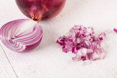 Fresh finely diced red onion Royalty Free Stock Photography