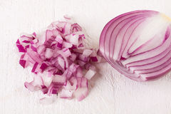 Fresh finely diced red onion Stock Photos