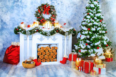 Fresh fir branches. Christmas Border - a strip of fresh fluffy fir branches with cones on a wooden background royalty free stock image