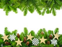 Fresh fir twigs as a Christmas frame Stock Images