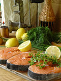 Fresh fish. Salmons fillets Stock Images