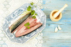 Fresh fish on antique tray Royalty Free Stock Photography