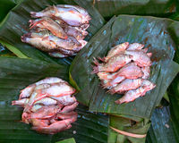 Fresh fish on banana leaf in Bangkok Stock Photography