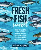 Fresh fish banner for seafood market template. Fresh fish welcoming banner for seafood market template. Tuna, salmon, mackerel, trout, cod, hake, perch, dorado Stock Photo