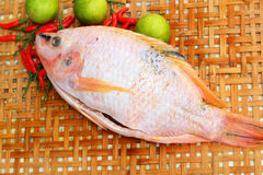 Fresh fish in the basket - for cooking. Royalty Free Stock Photo