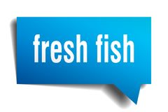 Fresh fish blue 3d speech bubble. Fresh fish blue 3d square isolated speech bubble Stock Images
