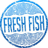 Fresh fish blue grunge style rubber stamp.  Stock Photography