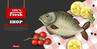 Fresh fish card template vector realistic. 3d illustrations. Fresh fish card template vector realistic. 3d illustration Stock Photo