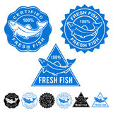 Fresh Fish Certified Seals Icon Set. Fresh Fish Certified or Seals Icon Collection Royalty Free Stock Photos