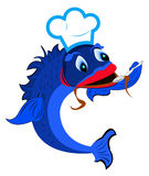 Fresh fish a chef with a spoon. On a white background Royalty Free Stock Photo