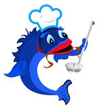 Fresh fish a chef with a spoon. On a white background Royalty Free Stock Photos
