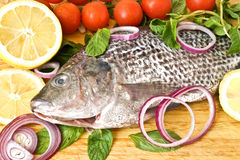 Fresh fish with cherry and lemon Stock Photos