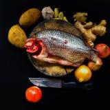 Fresh fish on chopping on black background. Fresh fish on chopping board and knife on black background stock images
