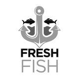 Fresh fish colorless logo with anchor and sea animals. Fresh fish colorless logo with grey anchor and black water animals and inscription below. Vector Stock Images