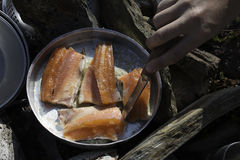 Fresh fish cooking. Fresh fish being cooked outdoors Royalty Free Stock Images