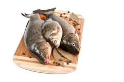Fresh fish on the cutting board. With spices on white background Royalty Free Stock Images