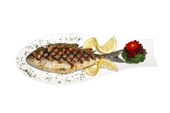 Fresh fish on decorated plate Stock Photography