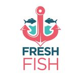 Fresh fish emblem with red anchor isolated illustration Royalty Free Stock Photos