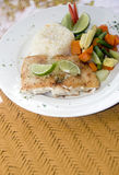 Fresh fish fillet with garlic lime rice Central American vegetab. Fresh fish fillet with garlic lime rice and Central American vegetables as photographed in Big Stock Photos