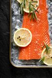 Fresh fish fillet on ice with lemon slices, rosemary, salt and peppercorns, top view Royalty Free Stock Photos