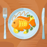 Fresh fish healthy dinner. Delicious dish vector illustration. Fresh fish healthy dinner. Fish delicious dish vector illustration. Tasty fish on plate with fork Stock Images