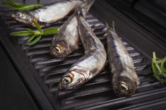 Fresh fish with herbs on grill. stock photo