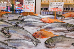 Fresh fish on ice for sale at Pike Place Market in Seattle Stock Image