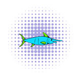 Fresh fish icon, comics style Royalty Free Stock Photography