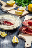 Fresh fish and ingredients for her cooking Royalty Free Stock Photos