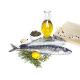 Fresh fish isolated on white  background. Delicious fresh fish isolated on white  background. Fish with  spices and vegetables - healthy food, diet or cooking Royalty Free Stock Photos