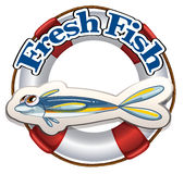 A fresh fish label. Illustration of a fresh fish label on a white background Stock Photos