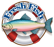 A fresh fish label with a big fish Royalty Free Stock Images