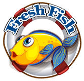 A fresh fish label with an image of a fish. Illustration of a fresh fish label with an image of a fish on a white background Stock Photo