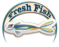 A fresh fish label with a small fish. Illustration of a fresh fish label with a small fish on a white background Royalty Free Stock Images
