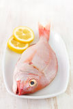 Fresh fish with lemon Stock Photos