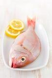 Fresh fish with lemon Stock Photos