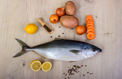 Fresh fish with lemon, parsley and spice on wooden cutting board isolated. On white Royalty Free Stock Photos